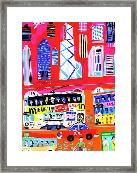 Busy City Street Scene In Hong Kong Framed Print