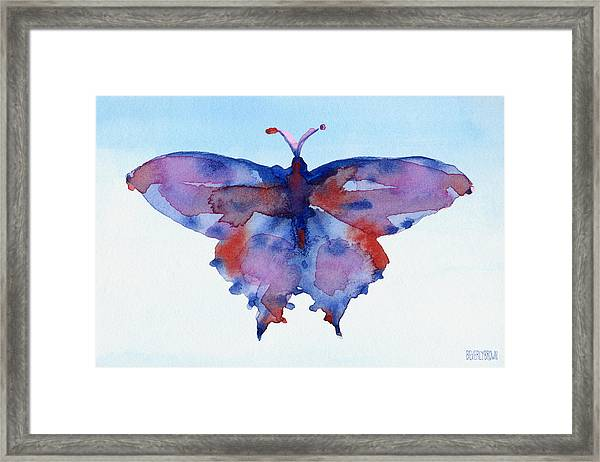 Butterfly Blue And Red Watercolor Painting Framed Print