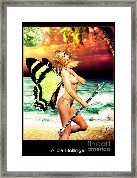 Butterfly Fairy On The Beach Topless Framed Print