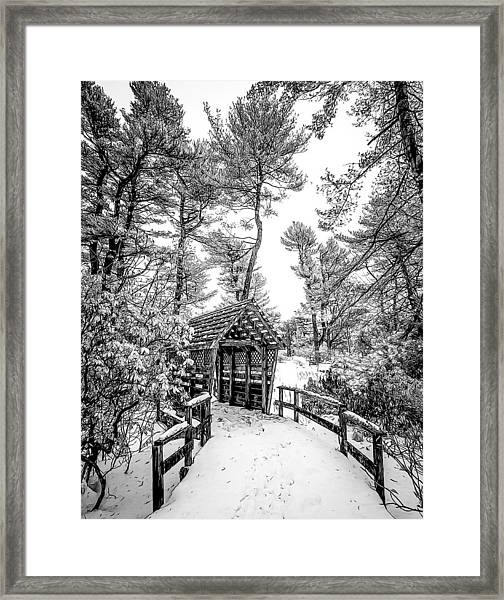 Bw Covered Bridge In The Snow Framed Print