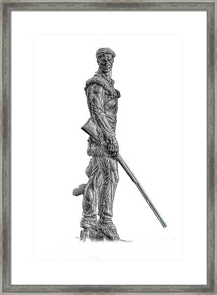 Bw Of Mountaineer Statue Framed Print