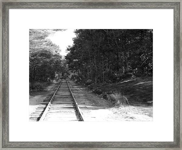Bw Railroad Track To Somewhere Framed Print