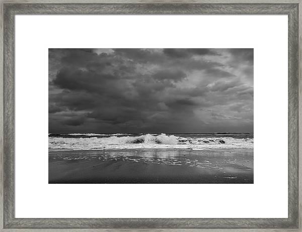 Bw Stormy Seascape Framed Print