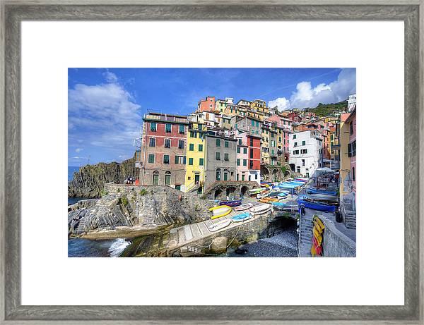 By The Harbor In Riomaggiore Framed Print