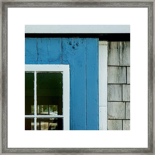 Old Door In Blue Framed Print