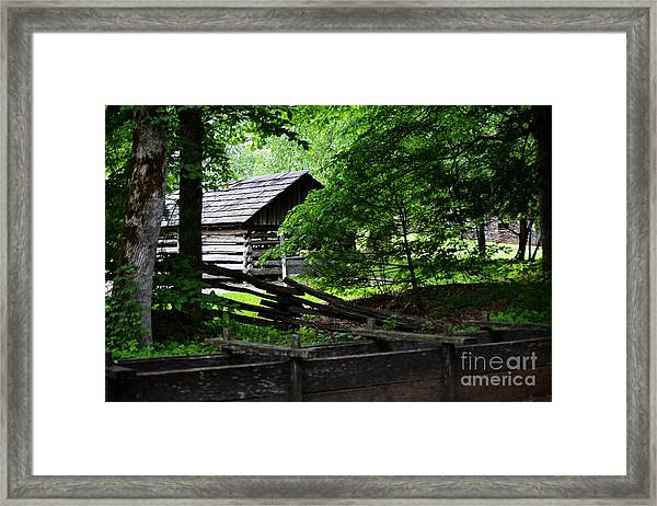 Cabin In The Smokey Mountains Framed Print by Eva Thomas