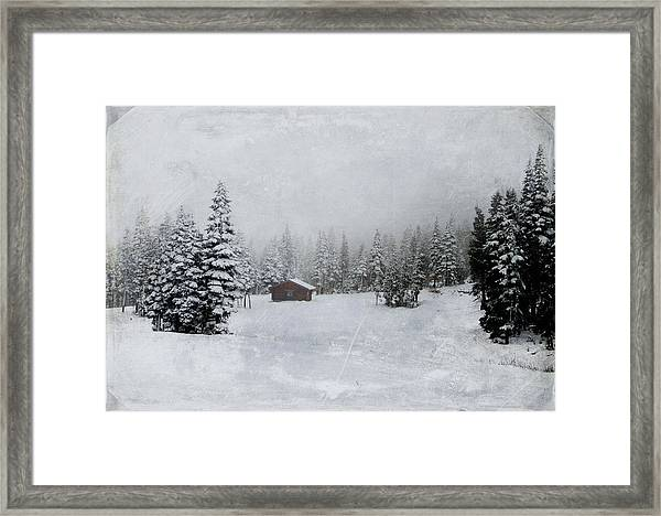 Cabin In The Woods-textured Framed Print