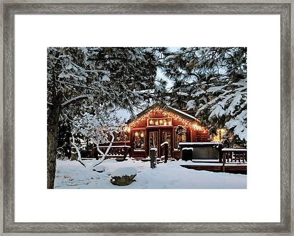 Cabin With Christmas Lights Framed Print