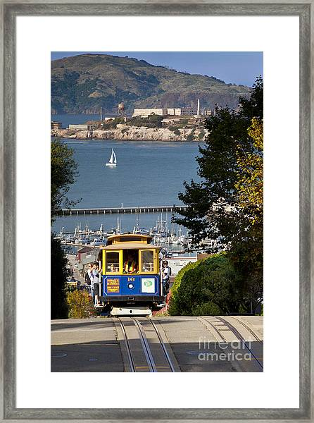 Framed Print featuring the photograph San Francisco Cable Car On Hyde Street Print By Brian Jannsen Photography by Brian Jannsen
