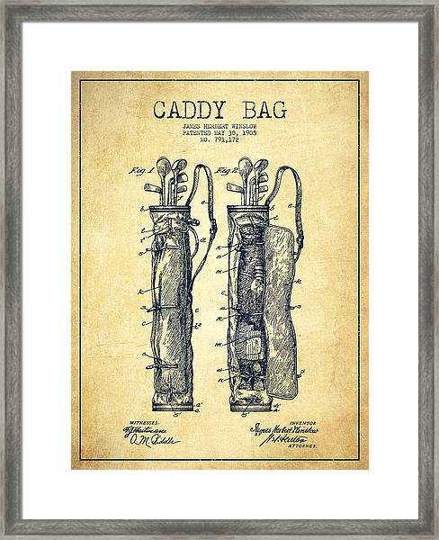 Caddy Bag Patent Drawing From 1905 - Vintage Framed Print