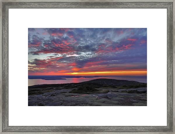 Cadillac Mountain Sunrise 2 Framed Print by Stephen  Vecchiotti