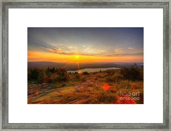 Cadillac Mountain Sunset Acadia National Park Bar Harbor Maine Framed Print
