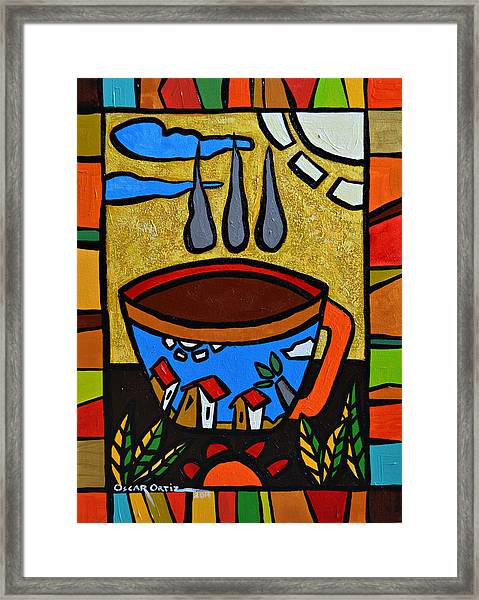 Framed Print featuring the painting Cafe Criollo  by Oscar Ortiz
