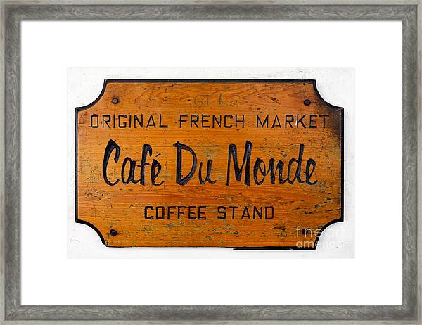 Cafe Du Monde Sign In New Orleans Louisiana Framed Print by Paul Velgos