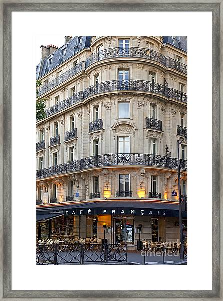 Framed Print featuring the photograph Cafe Francais by Brian Jannsen