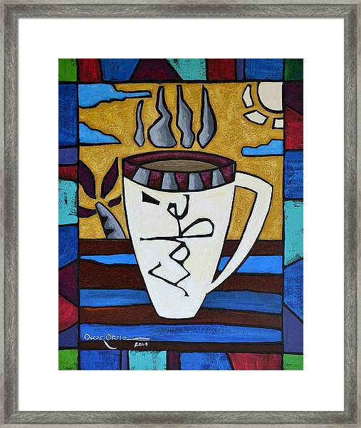 Framed Print featuring the painting Cafe Resto by Oscar Ortiz