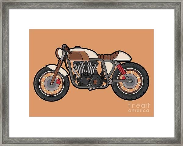 Cafe Race Motor Vector Framed Print