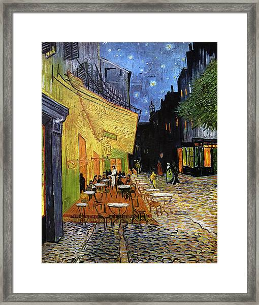 Cafe Terrace At Night Reproduction Art Work Framed Print