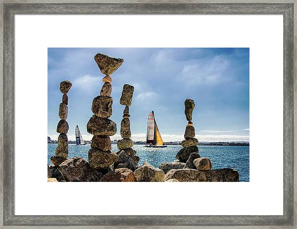 Cairns And Sailboats, Waterfront, San Framed Print
