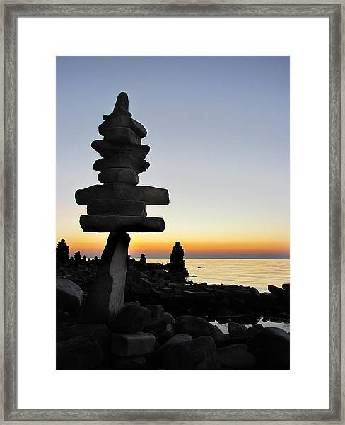 Cairns At Sunset At Door Bluff Headlands Framed Print