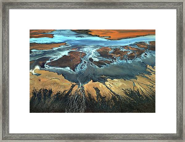 California Aerial - The Desert From Above Framed Print by Tanja Ghirardini