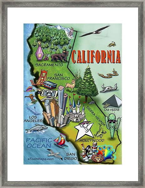 California Cartoon Map Framed Print