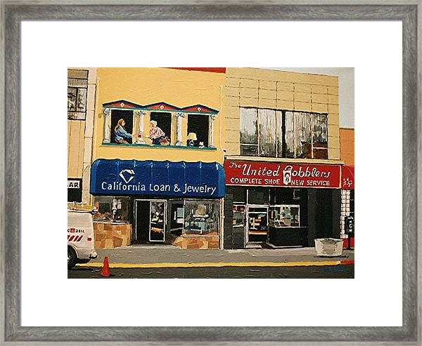 California Loan And United Cobblers Framed Print by Paul Guyer