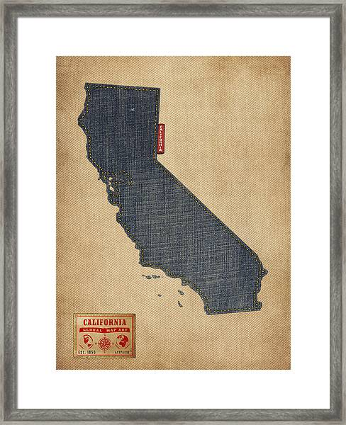 California Map Denim Jeans Style Framed Print