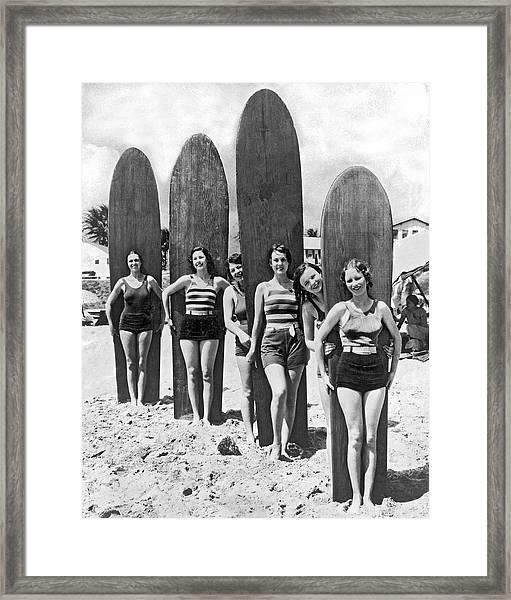 California Surfer Girls Framed Print