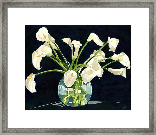 Calla Lilies In Vase Framed Print