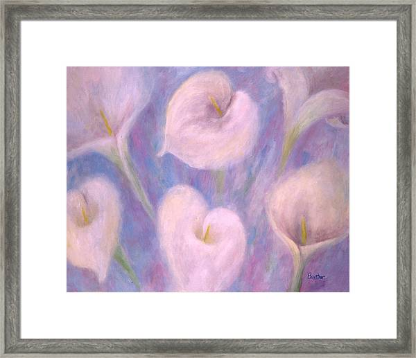 Framed Print featuring the painting Callas by Lynn Buettner