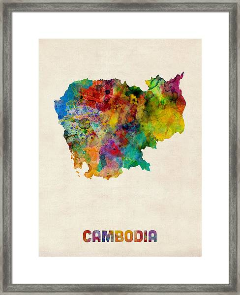 Cambodia Watercolor Map Framed Print