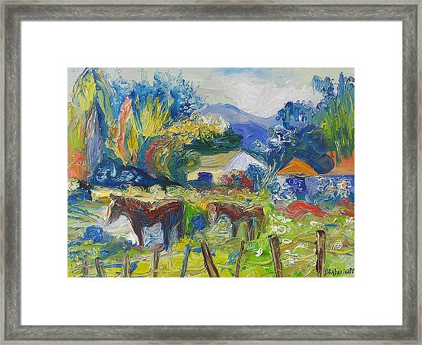 Cambridge Horses Original Artwork By Ekaterina Chernova Framed Print
