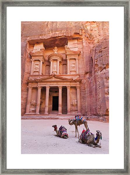Camel At The Facade Of Treasury (al Framed Print by Keren Su