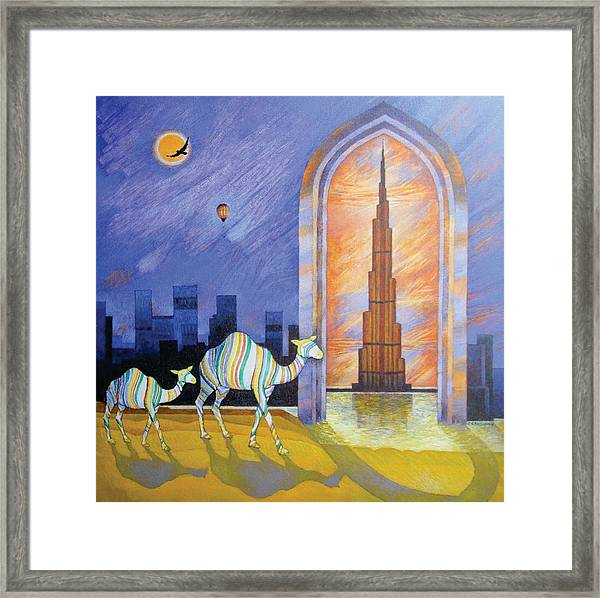 Camels In The Wonderland  Framed Print