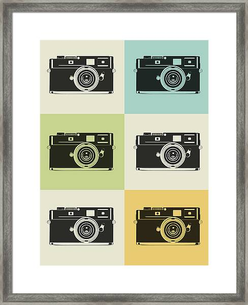 Camera Grid Poster Framed Print