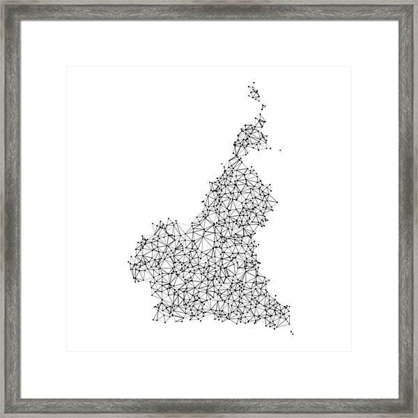Cameroon Map Network Black And White Framed Print by FrankRamspott