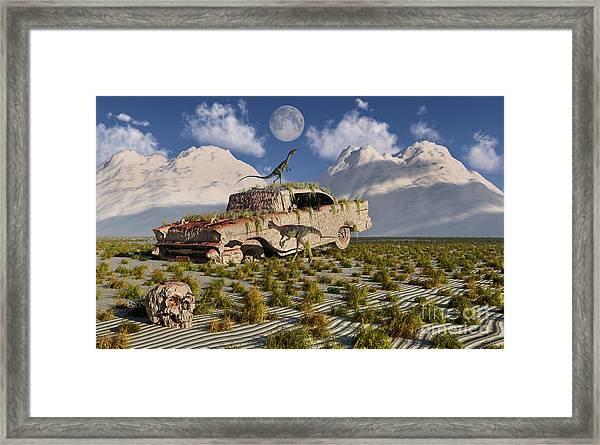 Campsognathus Dinosaurs Explore Framed Print