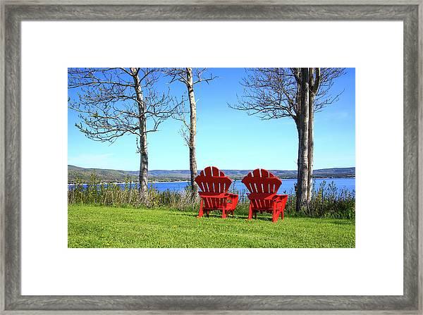 Canada, Nova Scotia, Adirondack Chairs Framed Print by Patrick J. Wall