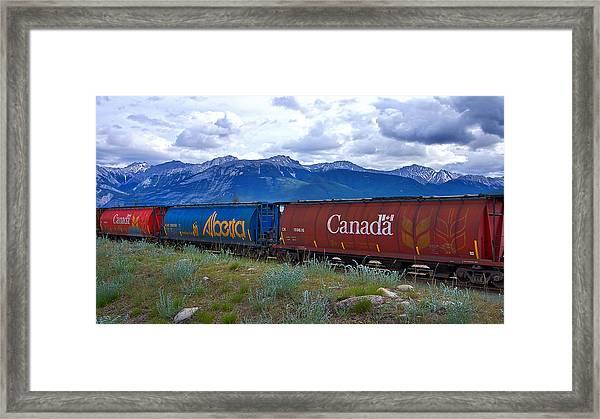 Canadian Freight Train In Jasper #2 Framed Print