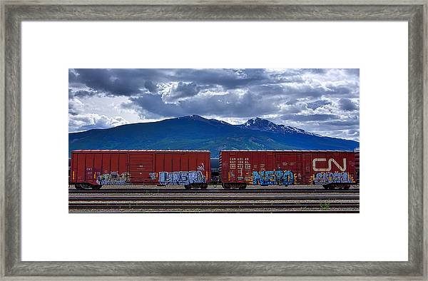 Canadian Freight Train In Jasper Framed Print