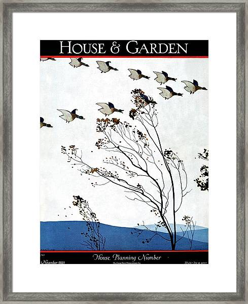 Canadian Geese Over Brown-leafed Trees Framed Print