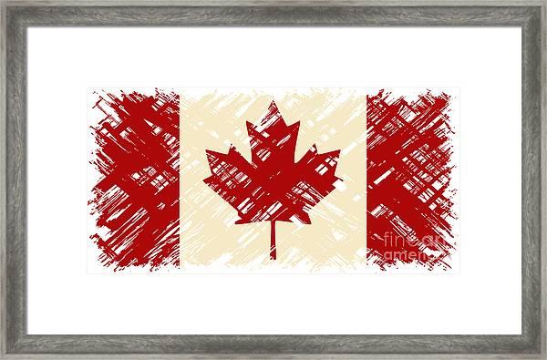 Canadian Grunge Flag. Vector Framed Print by Khvost