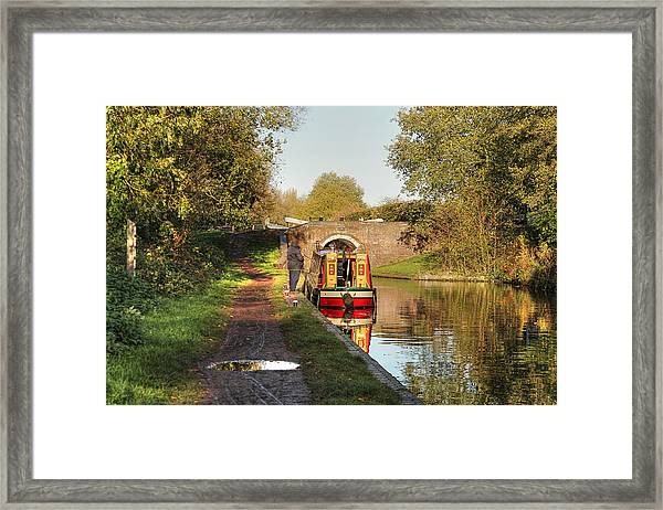 Canal Boat At Compton Lock Framed Print