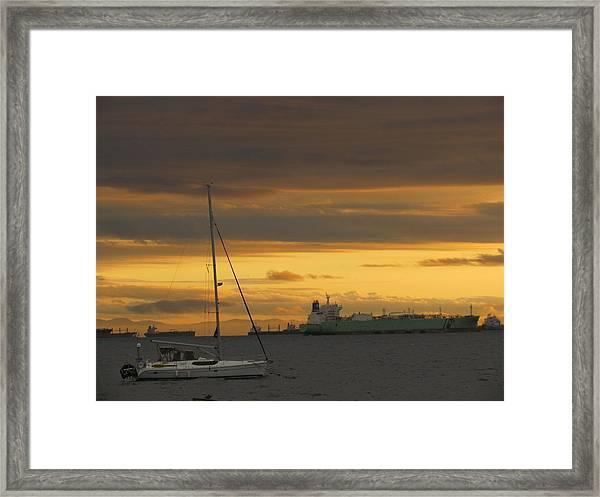 Canal Ship Sunrise Framed Print