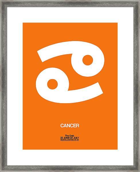 Cancer Zodiac Sign White On Orange Framed Print