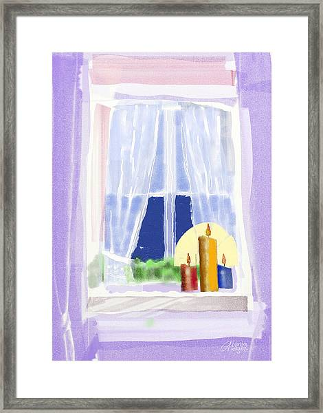 Candles In The Window Framed Print