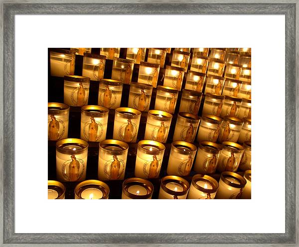 Candles Of Cathedrale Notre Dame De Paris Framed Print