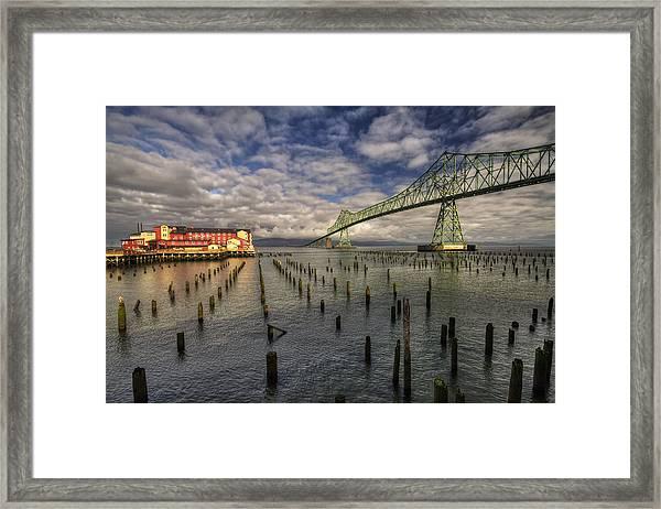 Cannery Pier Hotel And Astoria Bridge Framed Print