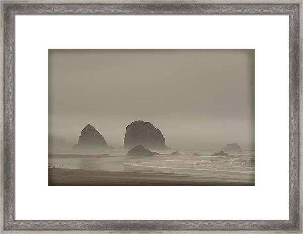 Cannon Beach In A Fog Oregon Framed Print